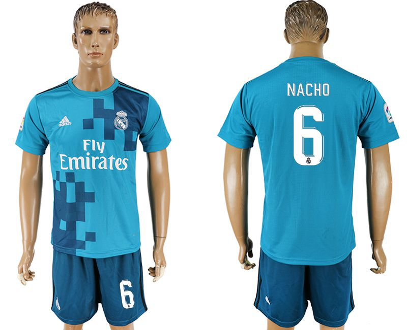 Men 2017-2018 club Real Madrid away 6 blue soccer jersey