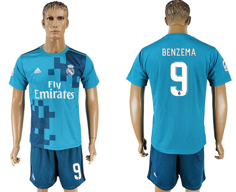 Men 2017-2018 club Real Madrid away 9 blue soccer jersey