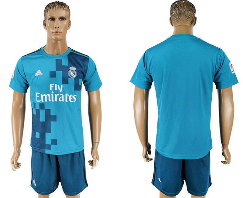 Men 2017-2018 club Real Madrid away blank blue soccer jersey