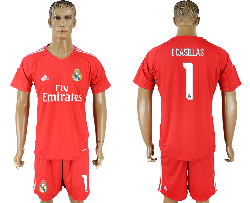 Men 2017-2018 club Real Madrid goalkeeper 1 red soccer jersey