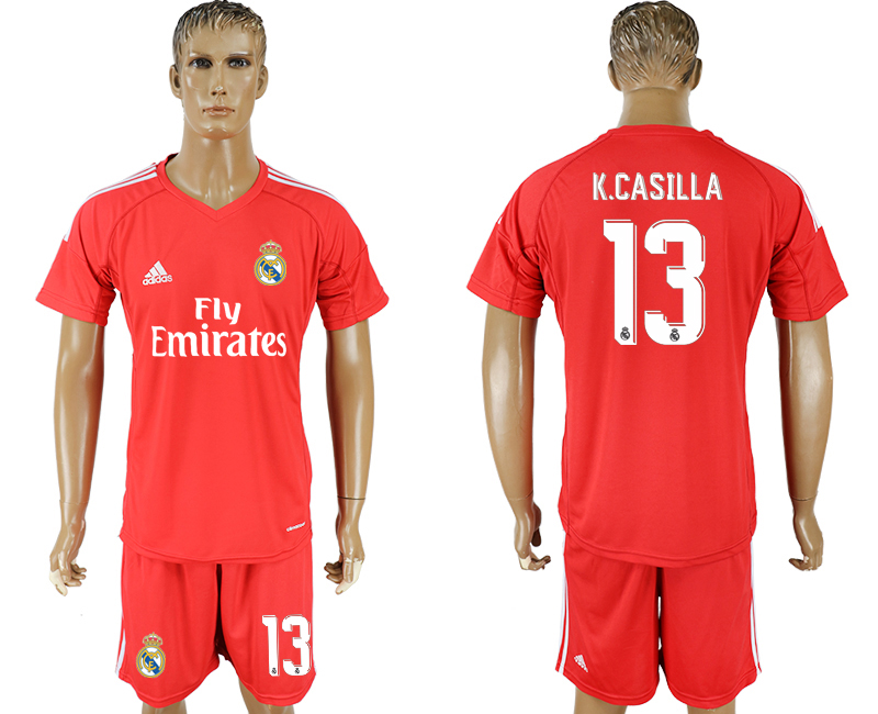 Men 2017-2018 club Real Madrid goalkeeper 13 red soccer jersey