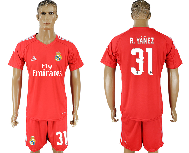 Men 2017-2018 club Real Madrid goalkeeper 31 red soccer jersey