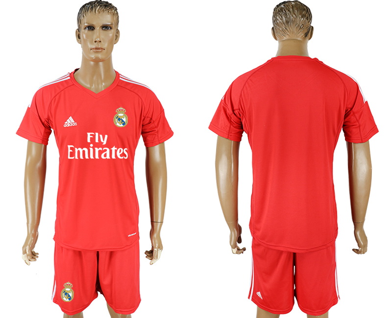 Men 2017-2018 club Real Madrid goalkeeper blank red soccer jersey