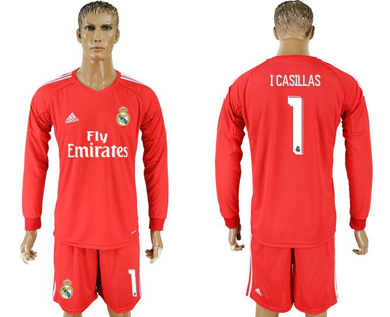 Men 2017-2018 club Real Madrid red 1 goalkeeper Long sleeve soccer jersey