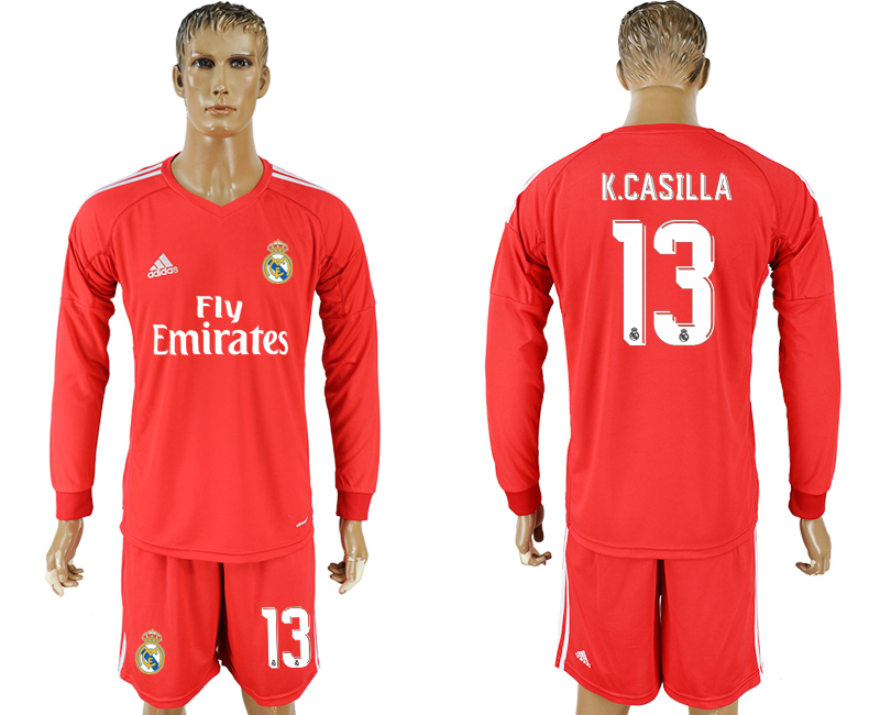 Men 2017-2018 club Real Madrid red 13 goalkeeper Long sleeve soccer jersey