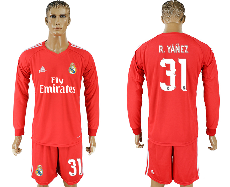 Men 2017-2018 club Real Madrid red 31 goalkeeper Long sleeve soccer jersey