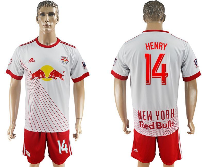 Men 2017-2018 club Red Bulls home 14 white soccer jersey