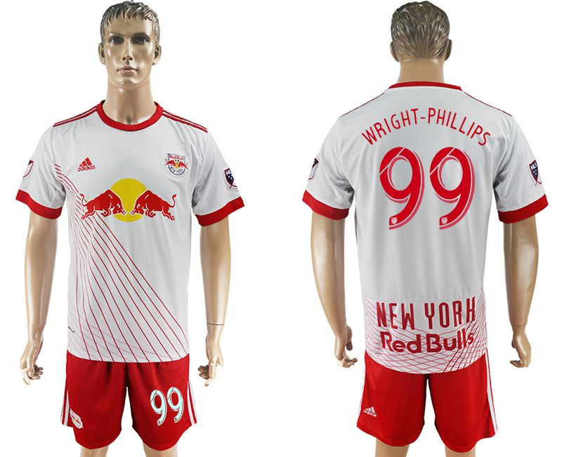 Men 2017-2018 club Red Bulls home 99 white soccer jersey
