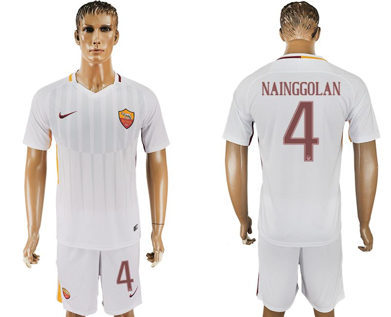 Men 2017-2018 club Rome away 4 white soccer jersey