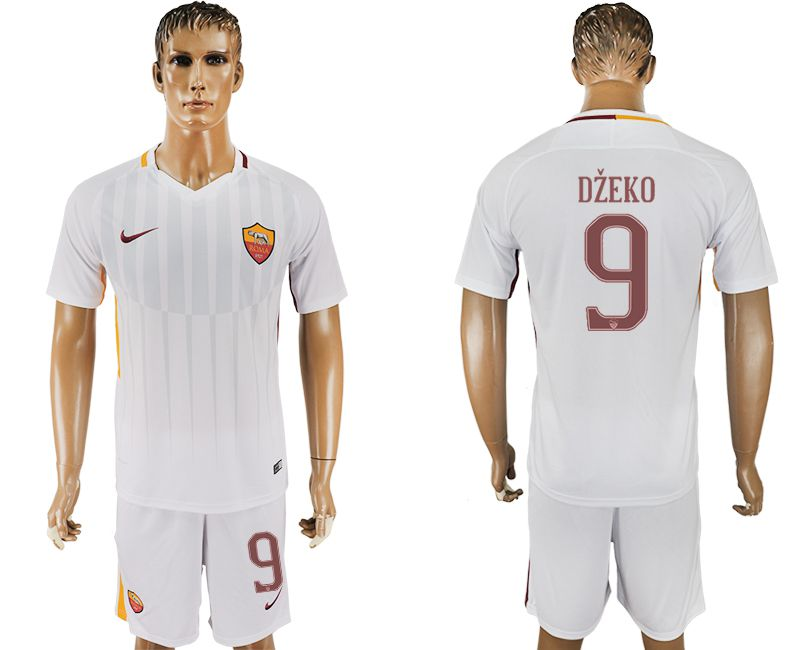 Men 2017-2018 club Rome away 9 white soccer jersey