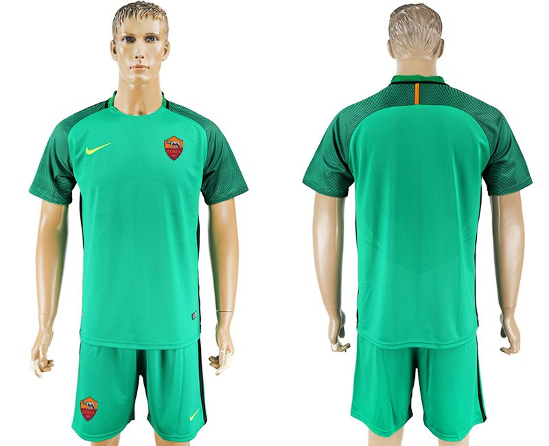 Men 2017-2018 club Rome goalkeeper blank green soccer jersey
