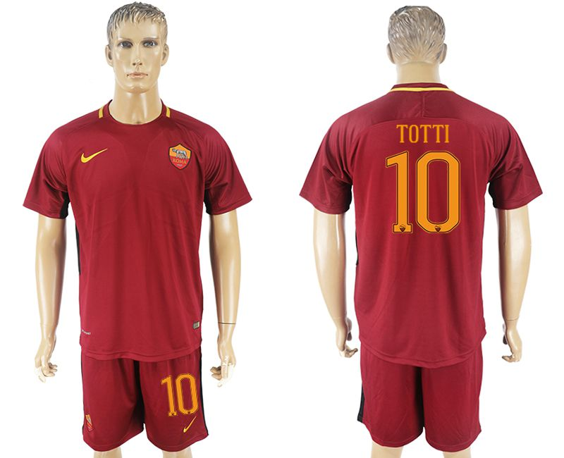 Men 2017-2018 club Rome home 10 red soccer jersey