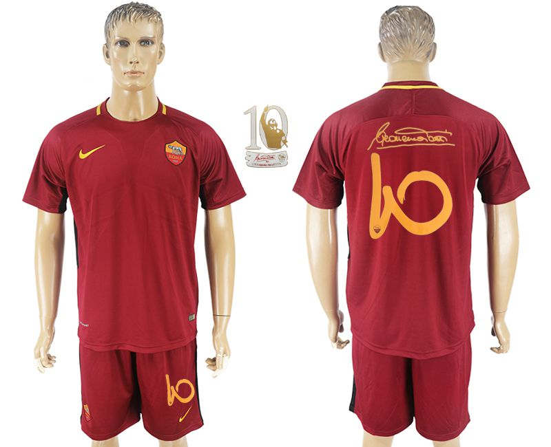Men 2017-2018 club Rome home Tohti Memorial red soccer jersey