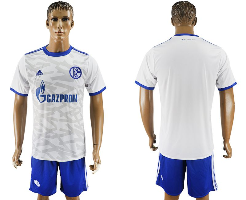 Men 2017-2018 club Schalke 04 away white soccer jersey