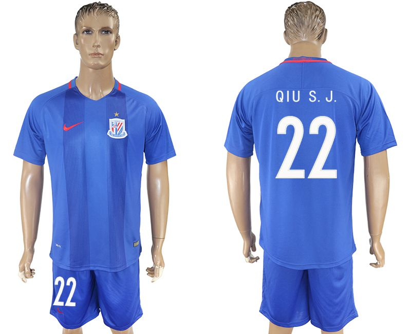 Men 2017-2018 club Shanghai Greenland Shenhua home 22 blue soccer jersey