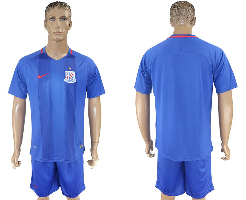 Men 2017-2018 club Shanghai Greenland Shenhua home blank blue soccer jersey