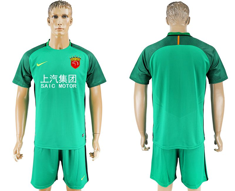 Men 2017-2018 club Shanghai upper port group goalkeeper blank green soccer jersey
