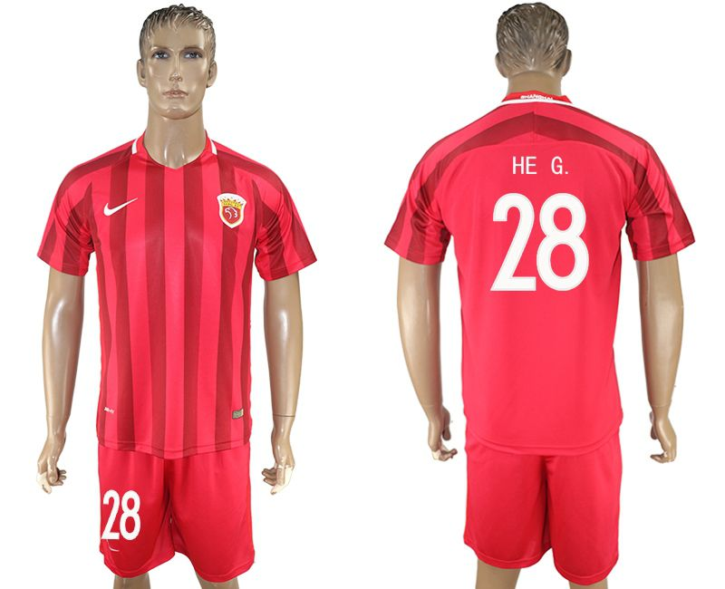 Men 2017-2018 club Shanghai upper port group home 28 red soccer jersey