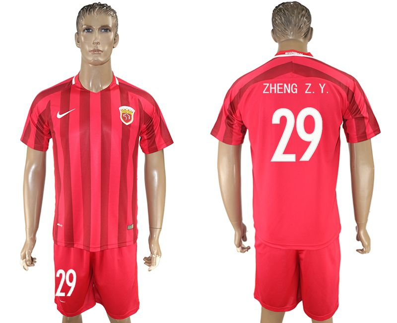 Men 2017-2018 club Shanghai upper port group home 29 red soccer jersey