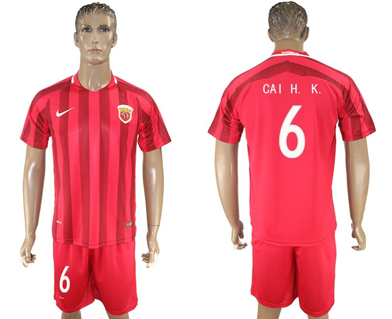 Men 2017-2018 club Shanghai upper port group home 6 red soccer jersey