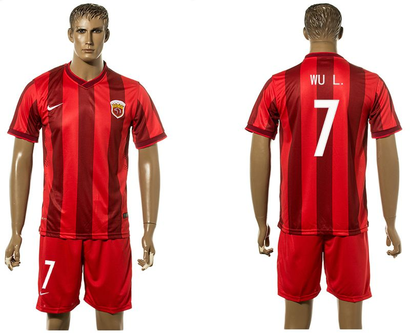 Men 2017-2018 club Shanghai upper port group home 7 red soccer jersey