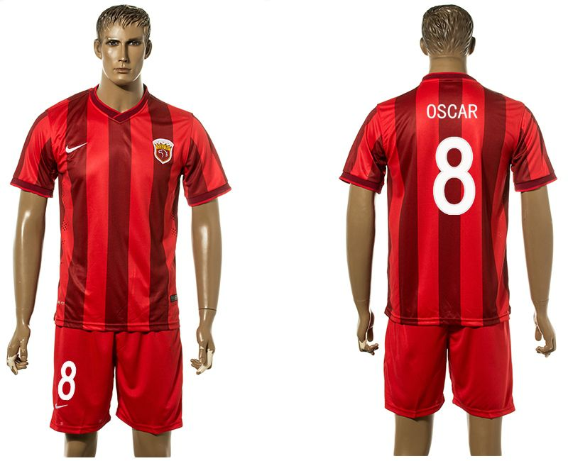 Men 2017-2018 club Shanghai upper port group home 8 red soccer jersey