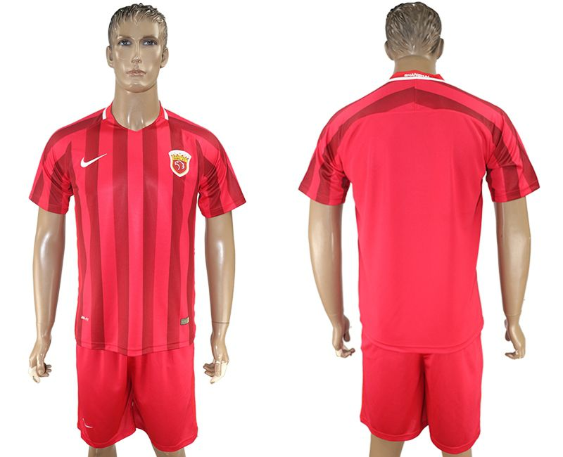 Men 2017-2018 club Shanghai upper port group home blank red soccer jersey1