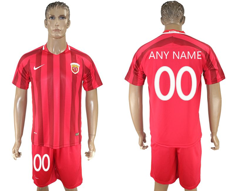 Men 2017-2018 club Shanghai upper port group home customized red soccer jersey
