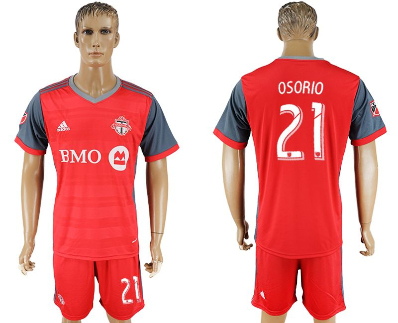 Men 2017-2018 club Toronto FC home 21 red soccer jersey