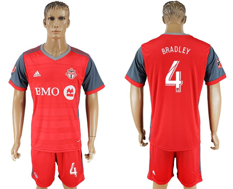 Men 2017-2018 club Toronto FC home 4 red soccer jersey