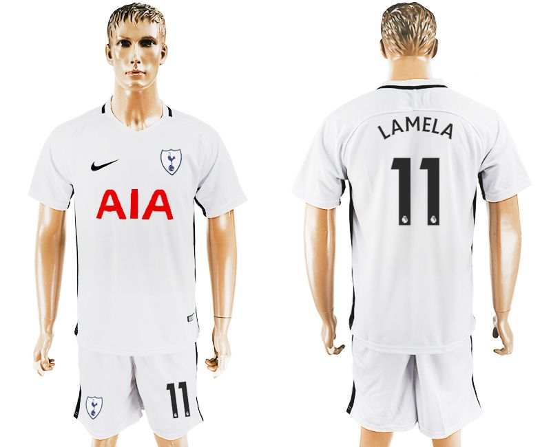 Men 2017-2018 club Tottenham Hotspur home 11 white soccer jersey1