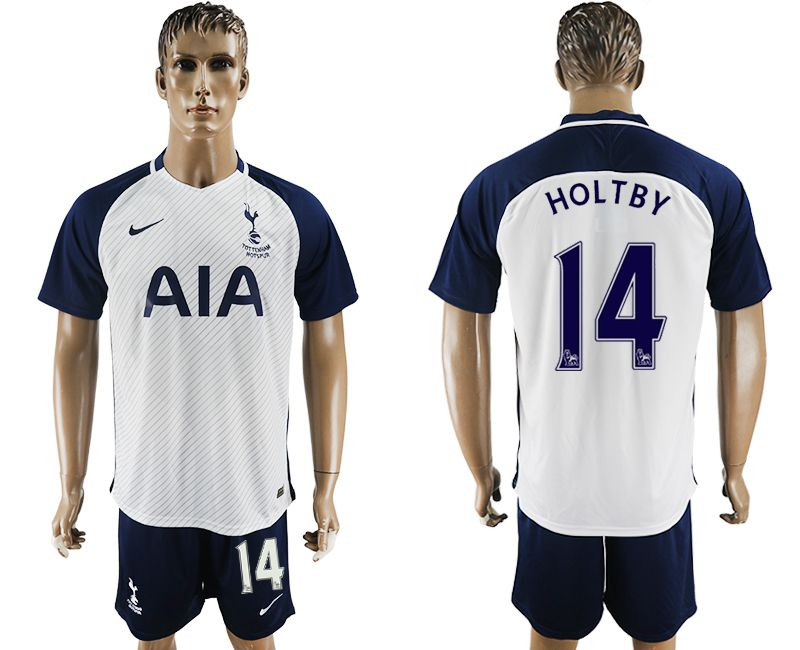 Men 2017-2018 club Tottenham Hotspur home 14 white blue soccer jersey