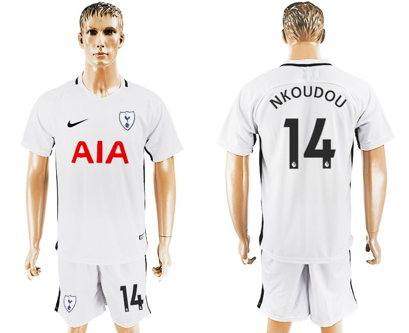 Men 2017-2018 club Tottenham Hotspur home 14 white soccer jersey1