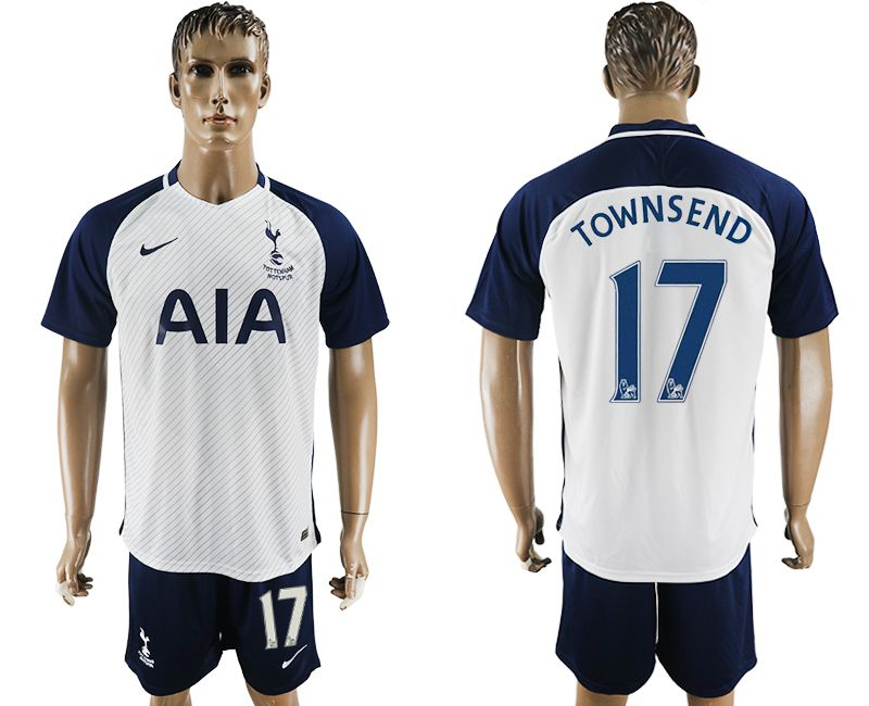 Men 2017-2018 club Tottenham Hotspur home 17 white blue soccer jersey