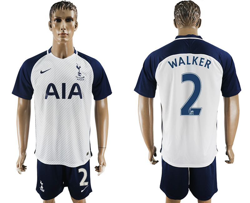Men 2017-2018 club Tottenham Hotspur home 2 white blue soccer jersey