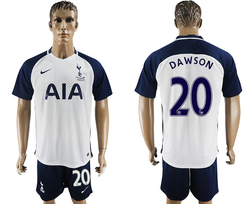 Men 2017-2018 club Tottenham Hotspur home 20 white blue soccer jersey