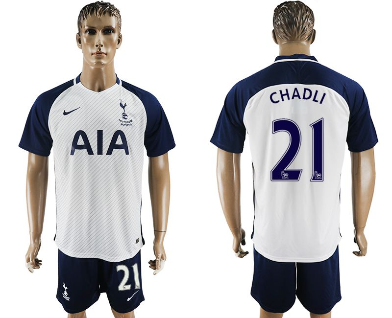 Men 2017-2018 club Tottenham Hotspur home 21 white blue soccer jersey
