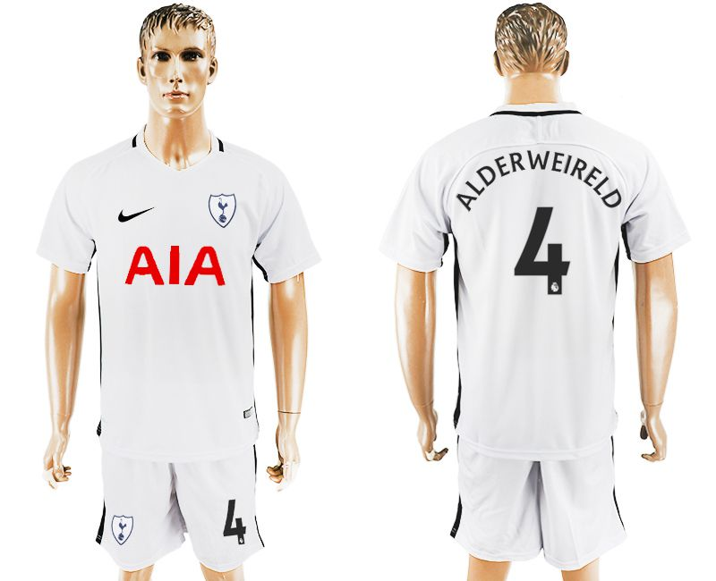 Men 2017-2018 club Tottenham Hotspur home 4 white soccer jersey1