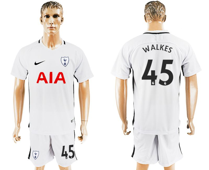 Men 2017-2018 club Tottenham Hotspur home 45 white soccer jersey1