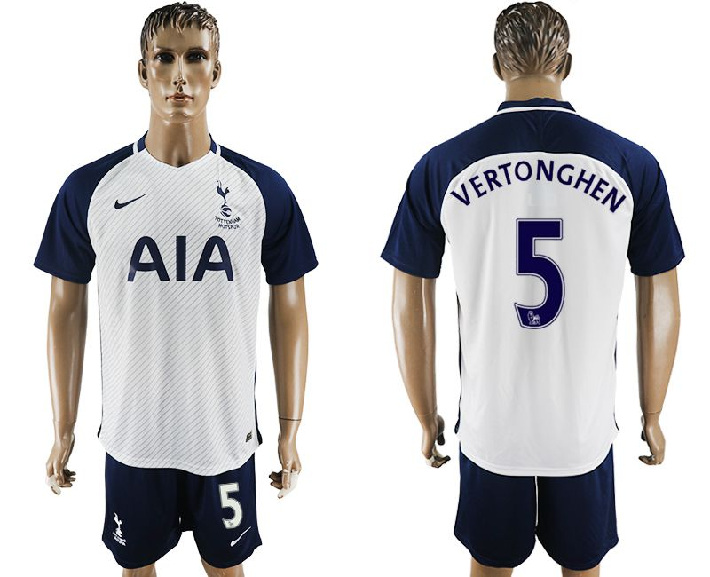 Men 2017-2018 club Tottenham Hotspur home 5 white blue soccer jersey