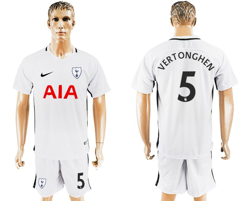 Men 2017-2018 club Tottenham Hotspur home 5 white soccer jersey1