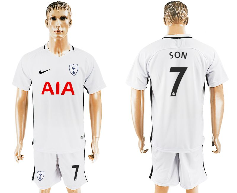 Men 2017-2018 club Tottenham Hotspur home 7 white soccer jersey1