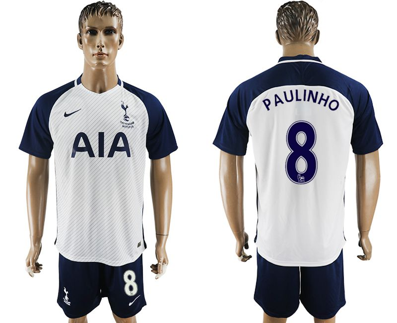 Men 2017-2018 club Tottenham Hotspur home 8 white blue soccer jersey