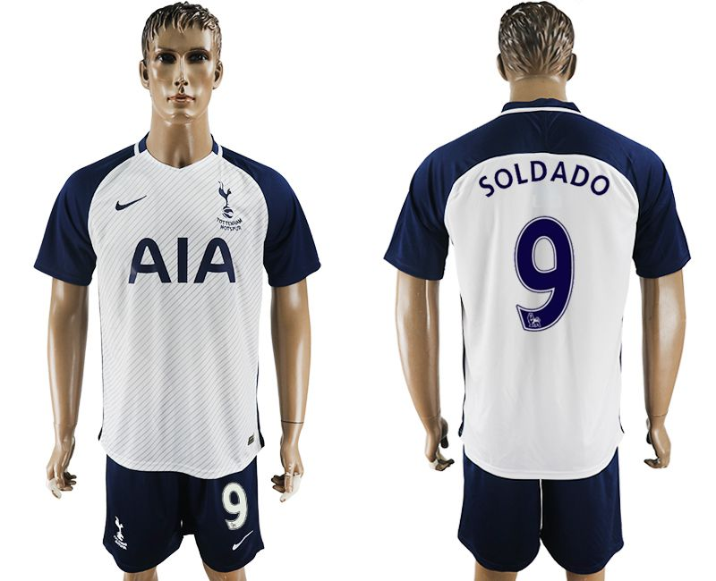 Men 2017-2018 club Tottenham Hotspur home 9 white blue soccer jersey