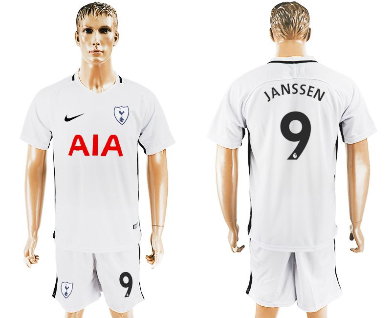 Men 2017-2018 club Tottenham Hotspur home 9 white soccer jersey1