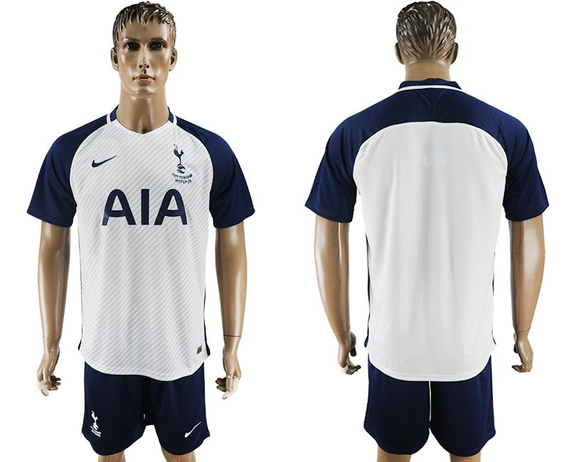 Men 2017-2018 club Tottenham Hotspur home blank white blue soccer jersey