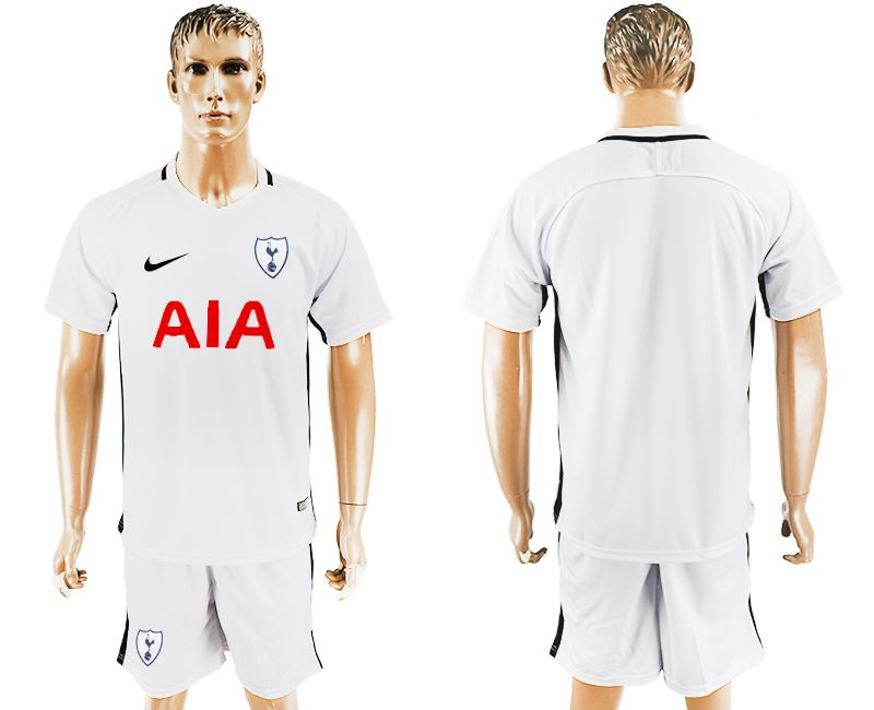Men 2017-2018 club Tottenham Hotspur home blank white soccer jersey1