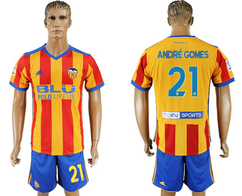 Men 2017-2018 club Valencia away 21 yellow soccer jersey
