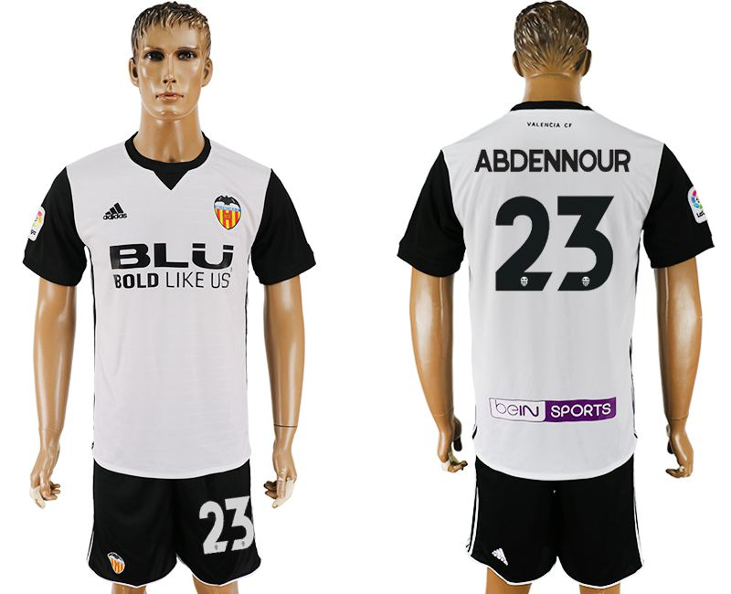 Men 2017-2018 club Valencia home 23 white soccer jersey