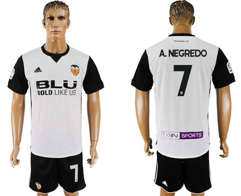 Men 2017-2018 club Valencia home 7 white soccer jersey